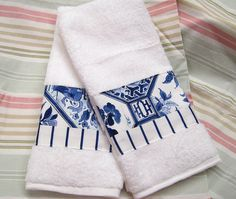 PALM HARBOR on WHITE Custom Decorated Hand Towels   by Sew1Pretty