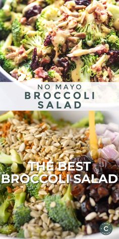 Best Broccoli Salad (No Mayo) recipe packed with crispy broccoli, bacon, onion, dried cranberries, and crunchy sunflower seeds and honey mustard dressing. Best Broccoli Salad Recipe, Best Salad Recipes, Lunch Recipes, Healthy Dinner Recipes, Vegetarian Recipes, Cooking Recipes, Brocolli Recipes, Healthy Broccoli Salad, Baking Center