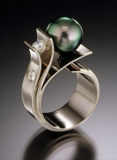 Ring | Adam Neeley. 'Flower of the Sea'. Tahitian pearl, diamonds and 14kt white gold.