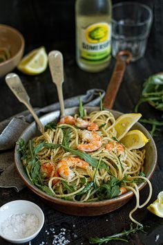 Lemon-Rucola-Shrimp Spaghetti. Searched for recipe with no luck, but I'm guessing that you need to saute the shrimp, boil the spaghetti, mix them together with rucola (arugala) and olive oil, squeeze lemon, add salt & pepper and eat! :)
