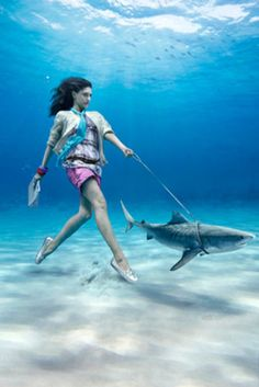 Would love to try an underwater shoot. Love the idea of this picture, looks like an underwater housewife walking her pet shark Under The Water, Under The Sea, Underwater Photos, Underwater Photography, Art Photography, Street Photography, Fashion Photography, Photography Tutorials, Landscape Photography