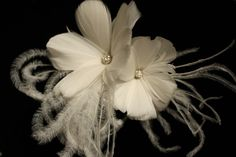Bridal Fascinator, Ivory Feather Hairpins, Head Piece - Set of Two. $75.00, via Etsy.