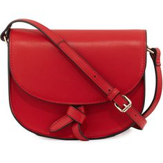 Kc Jagger Adriana Leather Knotted Saddle Bag ($75) ❤ liked on Polyvore featuring bags, handbags, shoulder bags, bolsas, cobalt, leather saddle bags, real leather purses, genuine leather purse, red leather purse and red shoulder bag