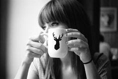 antler stencil mug