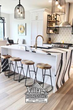 Marble Island Kitchen, Waterfall Kitchen Island, Cabinet Inspiration, Basement Inspiration, Living Room Kitchen, New Kitchen, Kitchen Decor, Cambria Quartz Countertops, Kitchen Countertops