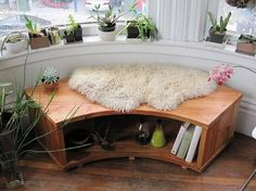 Just the right piece for a rounded nook.