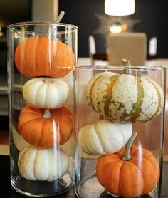 Thanksgiving is about celebrations and food. Thanksgiving is a great time to redecorate your property. Thanksgiving is the ideal time to appreciate th. Mini Pumpkins, Pumpkin Vase, Small Pumpkins, Pumpkin Candles, Pumpkin Lights, Diy Pumpkin, Pumpkin Ideas, Pumpkin Display, Glitter Pumpkins