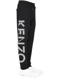 KENZO - PANTALONI IN FELPA DI COTONE STAMPA LOGO - NERO Cotton Sweatpants c7aeccb9d55