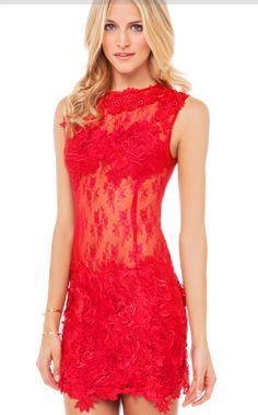 Vestido Rojo sin manga de encaje fiesta cocktail boda