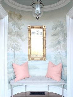 Timeless and tranquil landscape wallpaper mural with blues and greens in entry with bench. Design by Morrissey Saypol. Mural by Susan Harter. Classic Interior, Bedroom Classic, Landscape Wallpaper, Mural Painting, Modern Spaces, Wall Murals, Wallpaper Murals, Tree Murals, Hallway Wallpaper