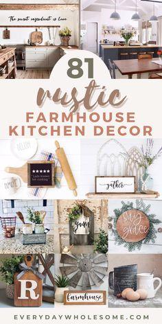 Farmhouse Kitchen Decor, Country Farmhouse Decor, Farmhouse Chic, Kitchen Dining, Farmhouse Ideas, Vintage Farmhouse Décor, Rustic Farmhouse Furniture, Antique Kitchen Decor, Country Chic Decor