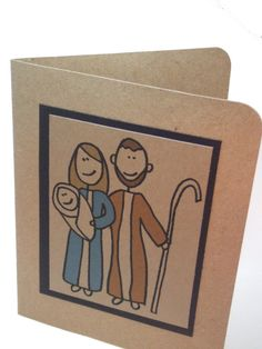 Holy family Hand drawn card on brown recycled kraft