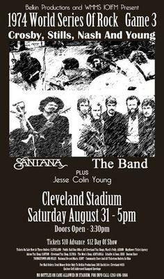 Crosby, Stills, Nash & Young 1974 Cleveland Rocks, Cleveland Ohio, Cleveland Concerts, Cincinnati, Rock Posters, Band Posters, Music Posters, Cleveland Against The World, Vintage Concert Posters