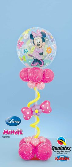 This Minnie Mouse centerpiece with a polka dot bow and a Bubble Balloon®* will create a pretty decor for your party! Other items are not Disney licensed products. Balloon Arrangements, Balloon Centerpieces, Balloon Decorations, Baloon Decor, Minnie Mouse Balloons, Mickey Minnie Mouse, Minnie Birthday, Birthday Balloons, Minnie Mouse Center Pieces