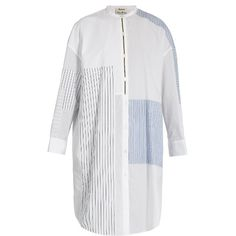 Acne Studios Elo patchwork cotton shirtdress ($580) ❤ liked on Polyvore featuring dresses, white multi, long white shirt dress, loose shirt dress, white cotton dress, white day dress and oversized shirt dress