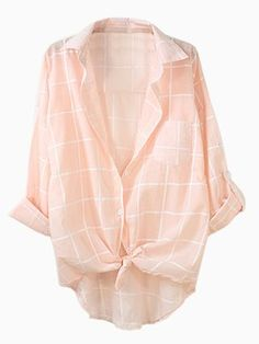 Pink Gingham Button-up Long Sleeve Shirt