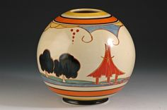 Clarice Cliff Fantasque Bizarre 'Summerhouse' pattern globe vase, ca Susie Cooper, Art Nouveau, Art Deco, Clarice Cliff, Ceramic Artists, Masters, Globe, Material, Eye Candy