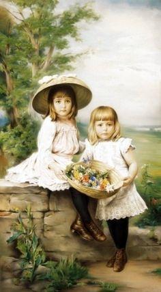 German Artist, Richard Eisermann, Children with Spring Bucket of Flowers