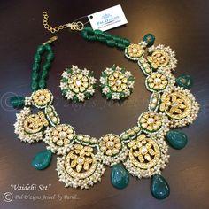 emerald green, gold, polki, green and white bridal necklace, tukdi necklace set, artificial jewellery, bridal set