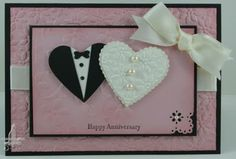 Stampin' Up!  Scallop Heart Punch Art  Susan Joyce  Bride and Groom