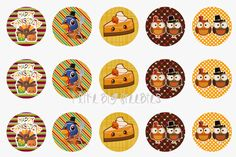 Free Thanksgiving bottlecap images (cute pumpkin pie, pilgrim owl, turkey bottlecap image designs)