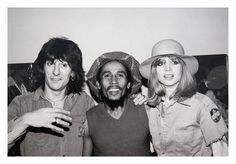 Ron Wood and Jo Wood meeting with Bob Marley backstage at the Oakland Auditorium on November 30, 1979. Photographer: Unknown