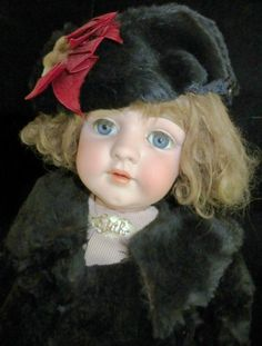 "Antique Doll: Kestner 143 ""Edith"" Bisque 29"" Doll. Glass Eyes - Blue, Mohair Comp. Ca. 1895. Rare! Auctions Online 