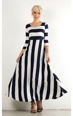 f18f967d0ac Katrina  Womens white and navy mixed striped 3 4 sleeve maxi dress Modest  Maxi
