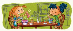 A fun tongue twister illustration about Shrimp Soup and Yummy Yogurt I created for Highlights Magazine.