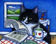 Tuxedo cat print Breakfast with Charlie by heidishaulis on Etsy, $17.00