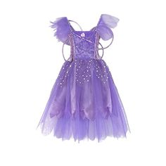 dd6fe8a7f518 Amazon.com  Girls Princess Fairy Wings Tutu Long Dress Birthday Party  Costume Halloween  Clothing