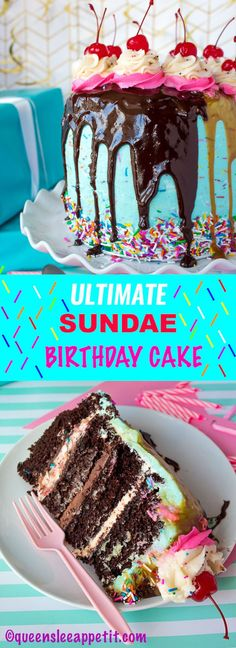This Ultimate Sundae Birthday Cake has layers of moist chocolate cake, vanilla sprinkle buttercream, chocolate buttercream, and caramel buttercream -then it's covered in vanilla frosting and decorated with sprinkles, ganache, caramel, cherries and more! If you like sundaes, you'll LOVE this fun and delicious version of one!