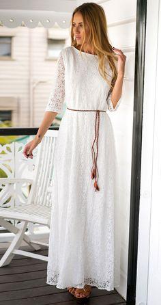 Pretty white lace maxi dress.