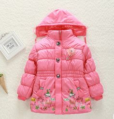 2106 new arrvial  Girls coat winter long sleeve warm jacket children cotton-padded clothes 3-8T