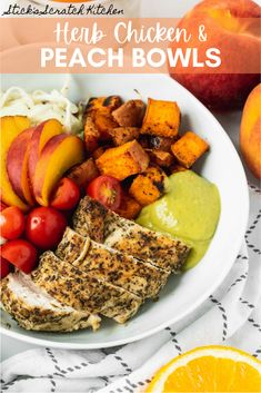 Herb Chicken and Peach Bowls are a savory and sweet combination of brown sugar roasted sweet potatoes, tender Italian herb chicken, tangy citrus slaw, fresh cherry tomatoes and juicy, golden peaches topped with a quick avocado salsa verde. #herbchicken #chicken #chickenbowl #peaches #peach #bowlrecipe #bowls #chickenrecipe #healthydinner #healthylunch #healthyrecipes Salad Recipes Gluten Free, Healthy Salad Recipes, Healthy Chicken Recipes, Real Food Recipes, Clean Eating Salads, Clean Eating Recipes, Healthy Eating, Peach Bowl, Homemade Soup