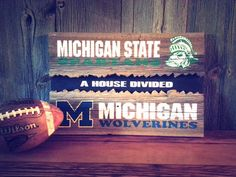House Divided Sign on Reclaimed Barn Wood, Michigan State vs University of Michigan,  Customizable by RusstyBucket, $55.00