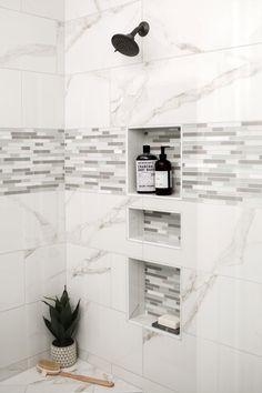 CAROLYNLEONA is a full service interior design firm based in Raleigh, North Carolina. Master Bathroom Shower, Upstairs Bathrooms, Tile Shower Niche, Shower Backsplash, Bathroom Niche, Chic Bathrooms, Marble Tile Shower, Bathroom Tile Showers, Neutral Bathroom Tile