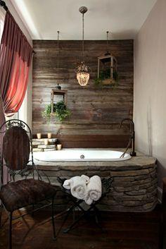 Badezimmer Design stein stuhl wanne tuch