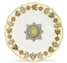 A Russian porcelain plate from the Order of St. Andrew Service, Gardner Porcelain Manufactory, Verbilki, 1778-1780.