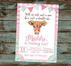 Farm Birthday Invitation Farm Birthday Party Oink Moo Turning two Birthday Party Flower Cow Girl Farm Birthday Digital File DIY 2 Year Old Birthday Party Girl, 2nd Birthday Party For Girl, Second Birthday Ideas, Cowgirl Birthday, Farm Birthday, Frozen Birthday, Geek Birthday, Spa Birthday, Birthday Invitations