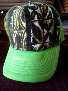 Neon Green Trucker Hat with Vintage Hawaiian by AumoanaDesigns, $25.00