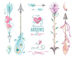 Romantic Arrows Watercolor Clipart. 12 digital Hand painted elements, feathers, diy floral, flowers, invite, tribal, mint pink boho, hearts