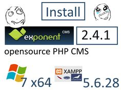 Install ExponentCMS 2.4.1 with XAMPP 5.6.28 on Windows 7 x64 localhost  - opensource PHP CMS