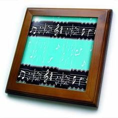 "Abstract Black n Turquoise Musical Notes - 8x8 Framed Tile by 3dRose. $22.99. Keyhole in the back of frame allows for easy hanging.. Solid wood frame. Inset high gloss 6"" x 6"" ceramic tile.. Cherry Finish. Dimensions: 8"" H x 8"" W x 1/2"" D. Abstract Black n Turquoise Musical Notes Framed Tile is 8"" x 8"" with a 6"" x 6"" high gloss inset ceramic tile, surrounded by a solid wood frame with pre-drilled keyhole for easy wall mounting.. Save 15% Off!"
