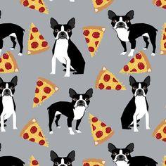 Grey Boston Terrier Pizza Fabric Boston Terrier by Spoonflower