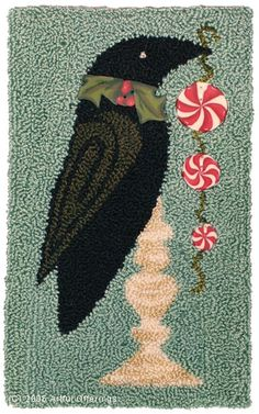 Christmas Crow Punchneedle Pattern & Buttons by Artful Offerings ~ Karina Hittle