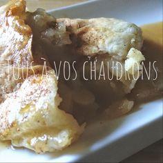 Tous à vos chaudrons: Chaussons aux pommes de belle-maman... Bon Dessert, French Toast, Chicken, Meat, Breakfast, Desserts, Sugar, Apple Turnovers, Cauldron