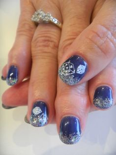 """""""Let it Ride!"""" The perfect nails for Las Vegas!  Spice them up with multi-coloured glitter & stamp some dice."""