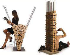 Modern Firewood Furniture by AK47 Design — Making Firewood Storage Fashionable