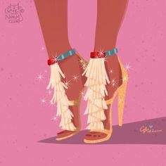 Pocahontas in a personalized @chloe Daniella fringed suede sandals  #griz #grizandnorm #fanart #fashionart #fashionillustration #shoedesign #shoelust #shoeenvy #disney  #pocahontas #fringe #chloe